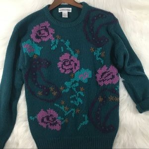 Vintage Teal Blue Paisley Chunky Knit Sweater